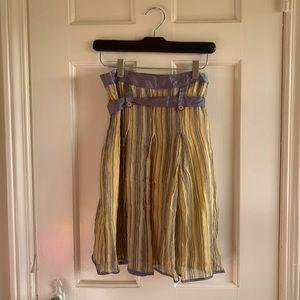 Cass Guy Yellow Purple Silk Skirt